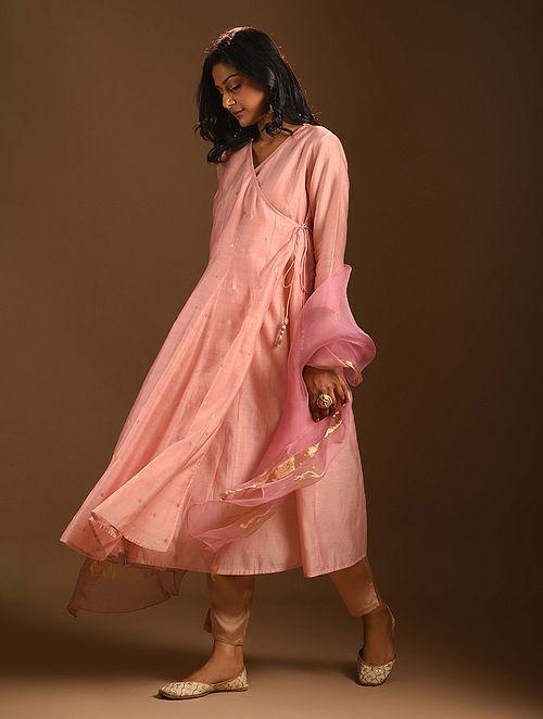 MADNO - Pink Silk Cotton Angrakha Kurta with Zari
