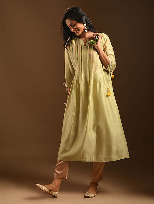 AZIZ - Green Silk Cotton Kurta with Pleats