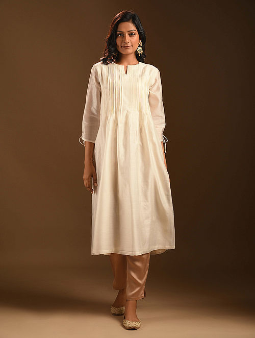 CHAHAT - Ivory Silk Cotton Kurta with Pleats