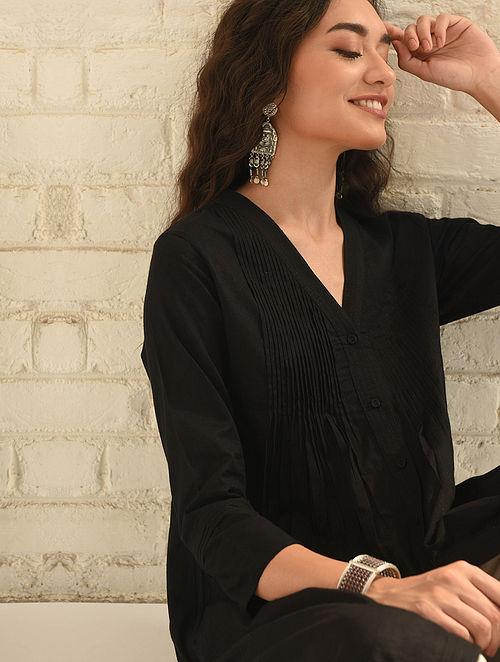 SARVARI - Black Cotton Dobby Kurta with Pleats