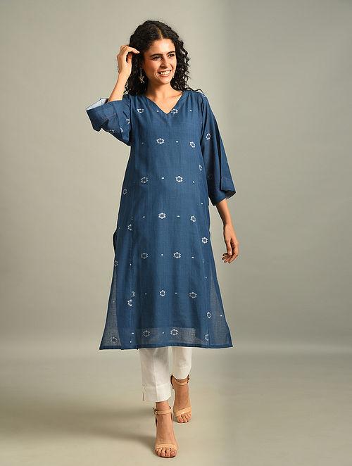 TANIA - Blue Handloom Cotton Jamdani Kurta
