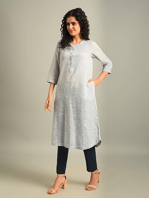 IDA - Blue Handloom Cotton Jamdani Kurta
