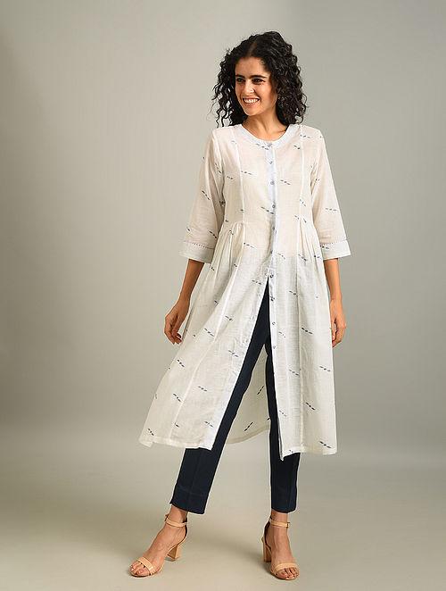 FREYA - White Handloom Cotton Jamdani Kurta With Gathers
