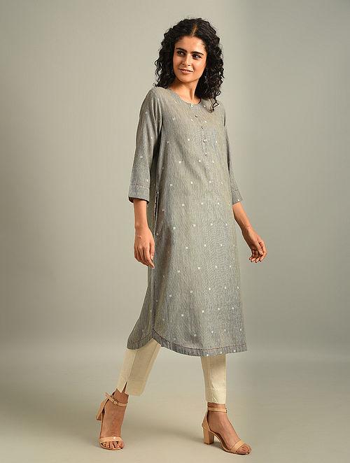 NELLIE - Grey Handloom Cotton Jamdani Kurta