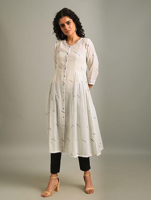 ADAINE - White Handloom Cotton Jamdani Kurta with Gathers