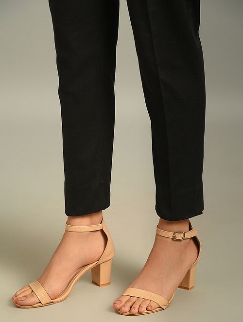 Black Elasticated Waist Cotton Flax Pant with Pocket