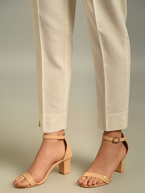 Ivory Elasticated Waist Cotton Flax Pant with Pocket