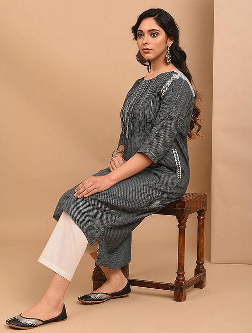 AITHU - Black Embroidered Mangalgiri Cotton Kurta with Pintucks