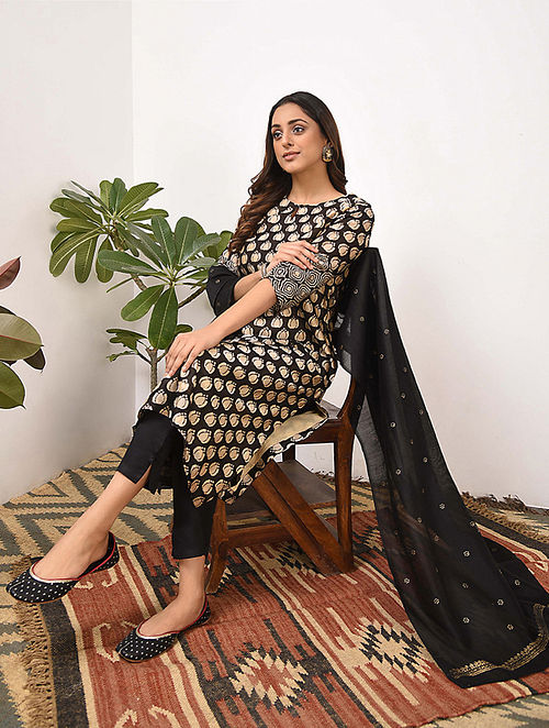 ARUSHI - Beige Black Bagru Printed Silk Cotton Kurta with Khari
