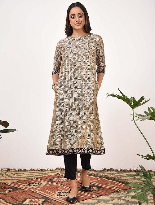 KEERAN - Beige Black Bagru Printed Silk Cotton Kurta with Khari
