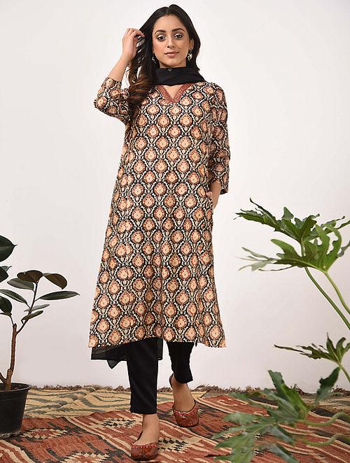 RASHMI - Beige Rust Bagru Printed Silk Cotton Kurta with Khari