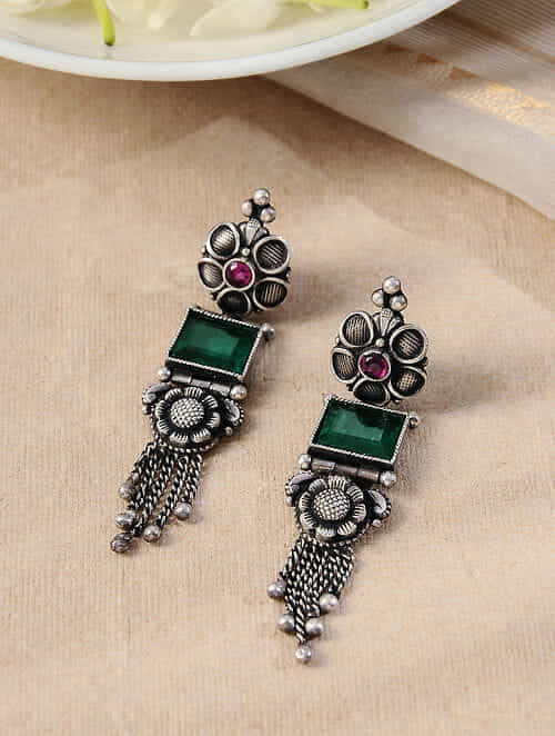 Maroon Green Tribal Silver Earrings