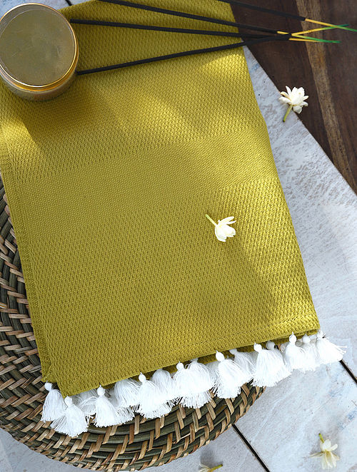 Green Hand Woven Cotton Bath Towel with Tassels (Length - 62in, Width - 32in)