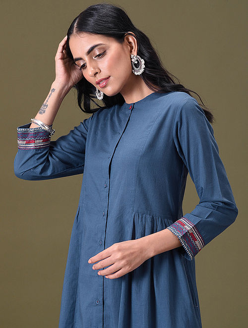 CHAARVI - Blue Embroidered Button-Down Cotton Kurta with Gathers