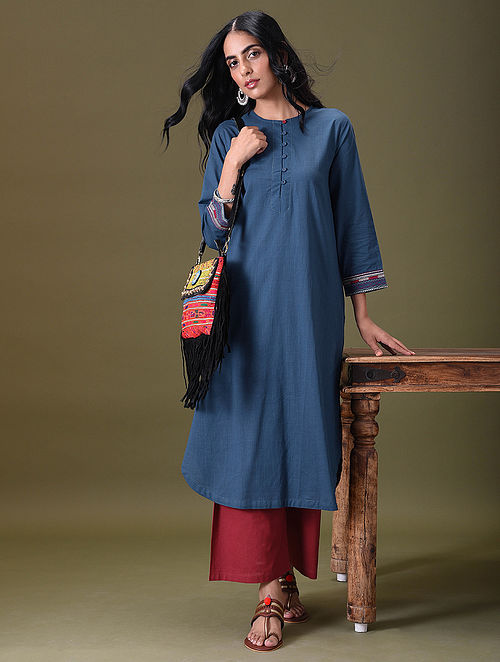 VASHTI - Blue Embroidered Cotton Kurta with Pockets