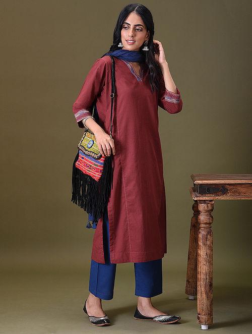 AVINOOR -  Maroon Embroidered Cotton Kurta with Pockets