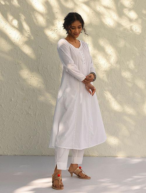 MIZN - White Cotton Kurta with Phool-Patti Applique Work