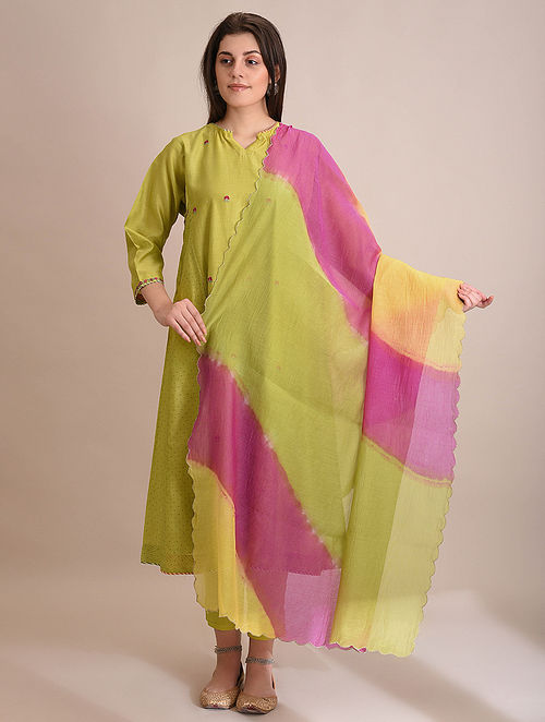 Multicolor Silk Cotton Dupatta with Zari Scallops