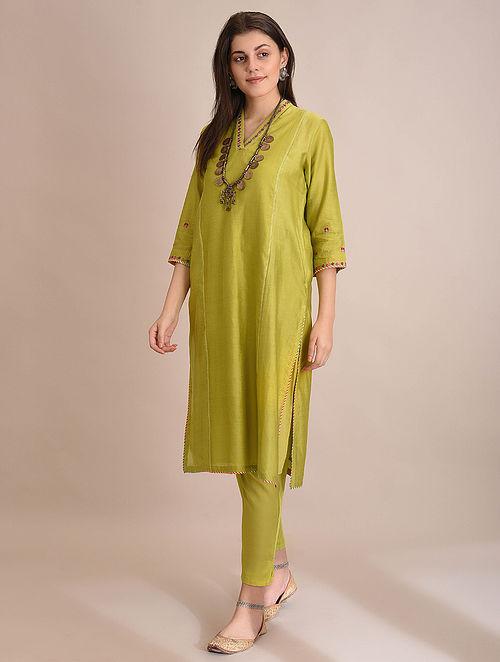RIMISHA - Lime Embroidered Silk Cotton Kurta with Slip