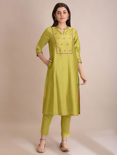 POONEH - Lime Embroidered Silk Cotton Kurta with Slip