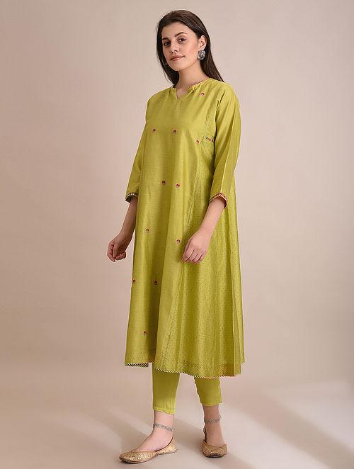 NUKHBHA - Lime Embroidered Silk Cotton Kalidar Kurta with Slip