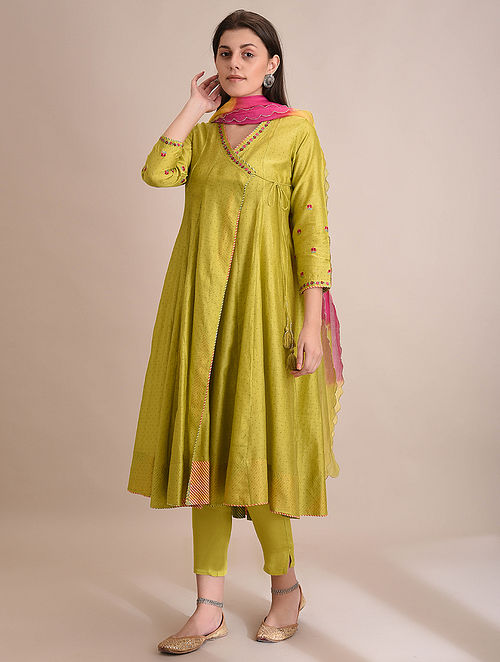 WARDAA - Lime Block Printed Silk Cotton Angrakha with Embroidery