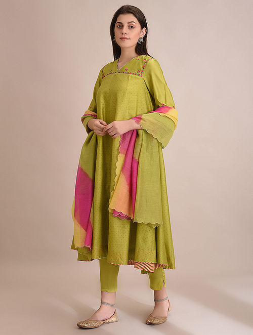 RABAIL - Lime Block Printed Silk Cotton Flared Kurta with Embroidery and Slip