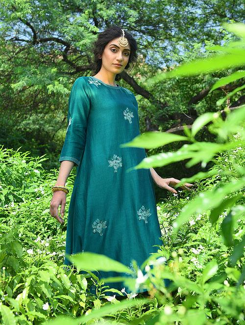 TAJ BIBI BILQIS MAKANI - Green Embroidered Silk Cotton Kurta