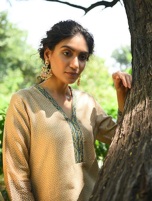 SAHIBA NIZWAN BEGUM - Beige-Green Block Printed Silk Cotton Kurta