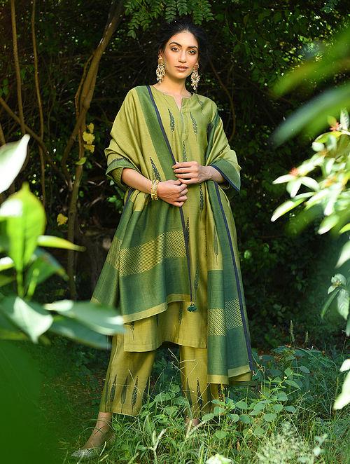NAWAB BAI - Green Block Printed Silk Cotton Kurta with Sequin