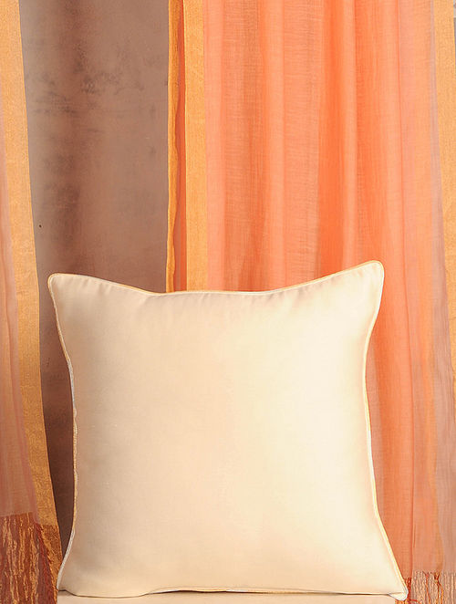 Off-White Handwoven Cotton Chanderi Cushion Cover (16in x 16in)