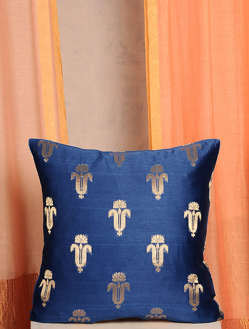Blue and Gold Handwoven Cotton Chanderi Cushion Cover (16in x 16in)