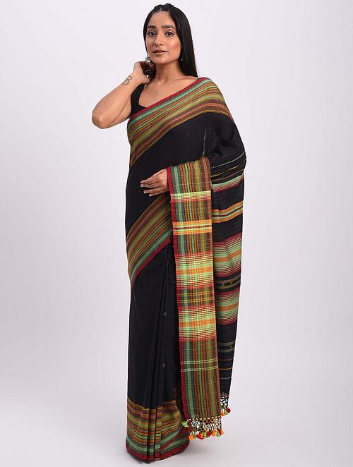 Black Handwoven Bhujodi Cotton Saree