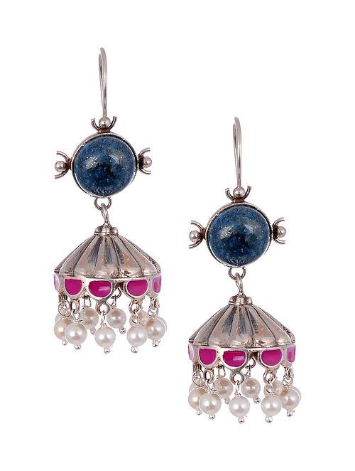Pink Blue Enameled Silver Earrings