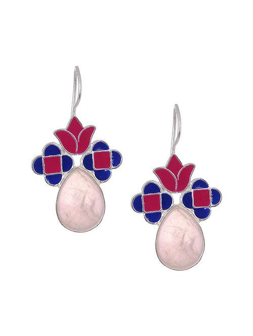 Pink Blue Enameled Gold Tone Silver Earrings