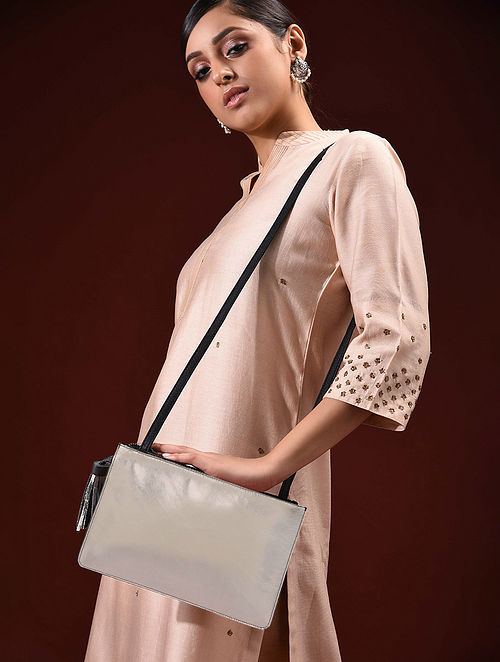 Silver Handcrafted Genuine Leather Sling Bag