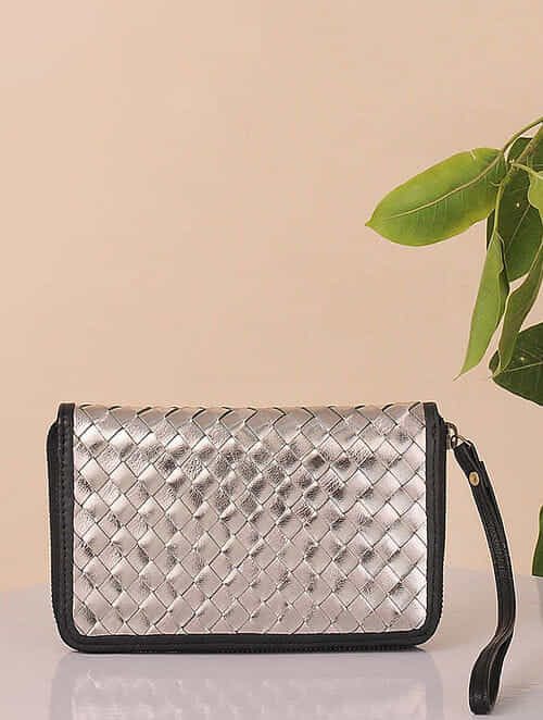 Silver Handcrafted Genuine Leather Wallet