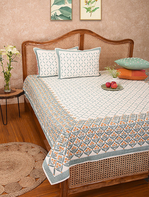 Multicolored Handblock Printed Cotton Quilted Bedcover with Pillow Covers (Set of 3)