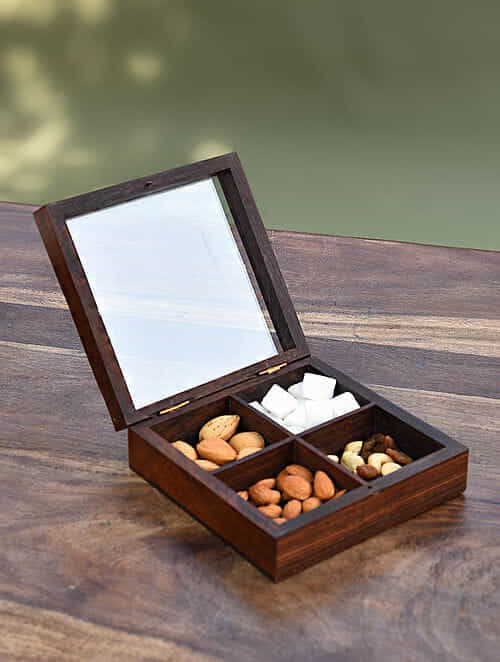 Brown Handcrafted Sheesham Wood and Glass Box (L - 6in, W - 6in, H - 2 in)