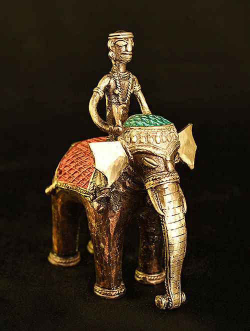 Elephant Handcrafted Antique Gold Dhokra Tabletop Accent (L - 5in, W - 3.5in, H - 6.5in)