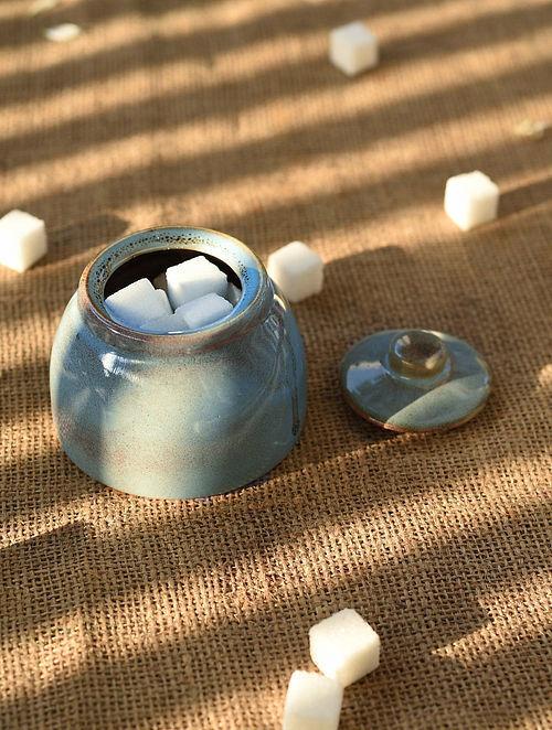 Blue Handmade Ceramic Sugar Pot (Dia - 3.6in, H - 3in)