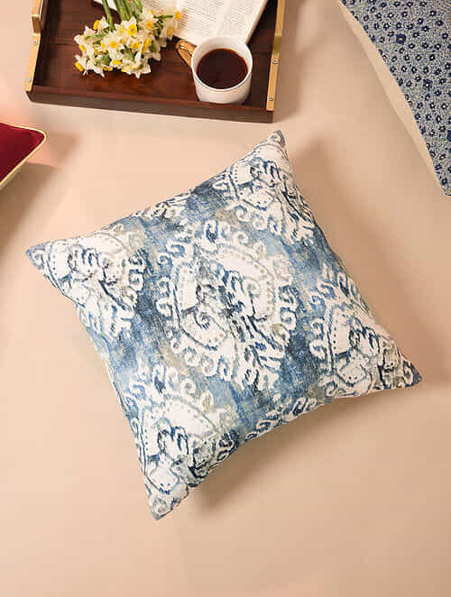 Blue and Gold Handcrafted Cotton Cushion Cover (16in x 16in)