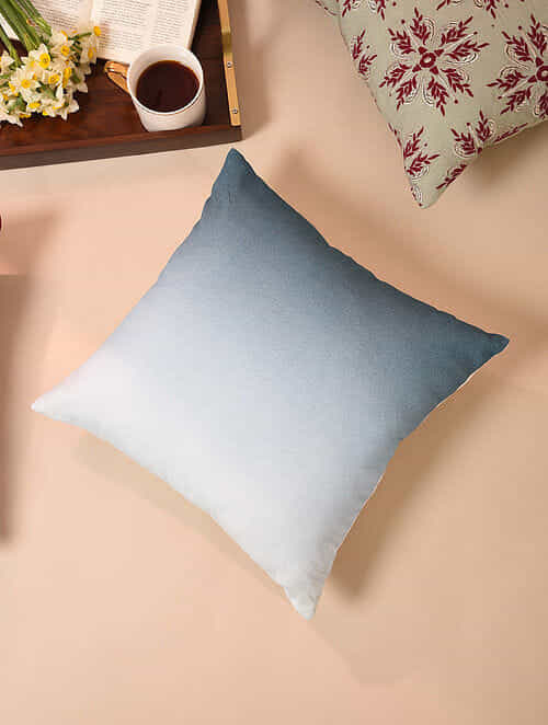 Blue and Beige Handcrafted Cotton Linen Cushion Cover (16in x 16in)
