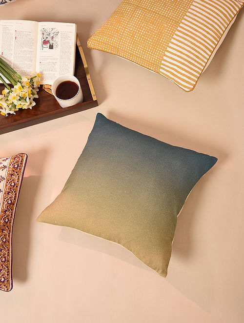 Blue Handcrafted Cotton Linen Cushion Cover (16in x 16in)