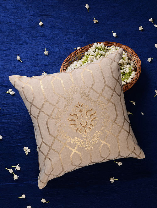 White Gold Handcrafted Cotton Linen Cushion Cover (16in x 16in)