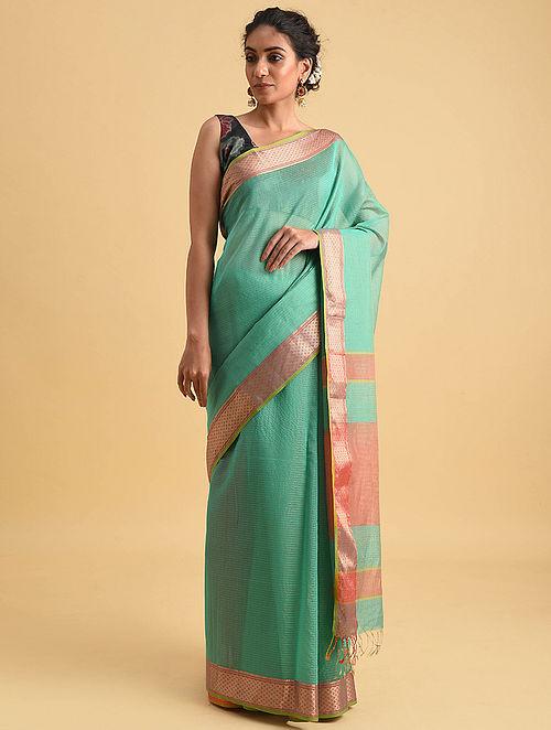 Green Handwoven Maheshwari Silk Cotton Saree