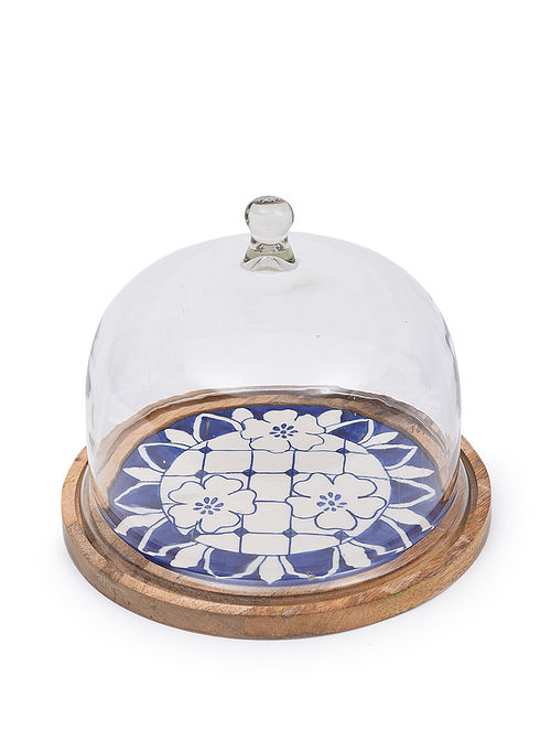 Indigo and White Handcrafted Wood and Ceramic Cake Stand with Glass Lid (Dia - 10.25in, H - 9in)