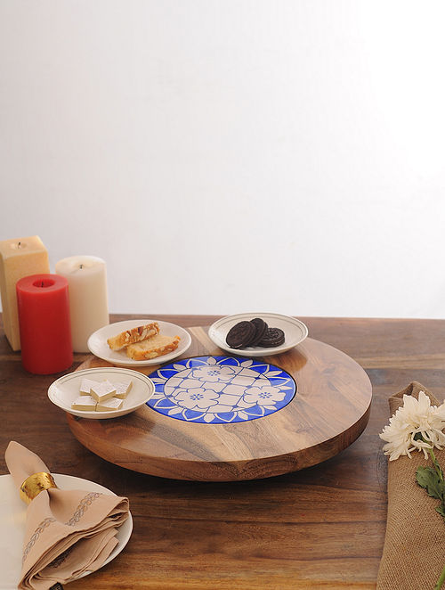 Wooden Lazy Susan with Ceramic Plate (Dia - 16in, H - 2.25in)