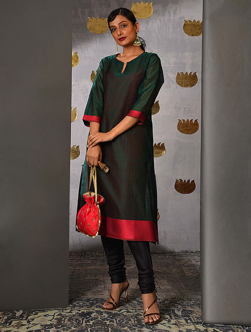 CHAMBAL - Green Handloom Maheshwari Kurta with Contrast Border and Slip