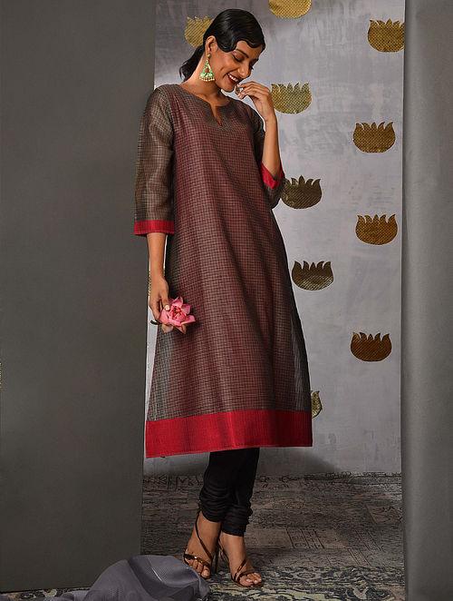 BETWA - Grey Handloom Maheshwari Kurta with Contrast Border and Slip